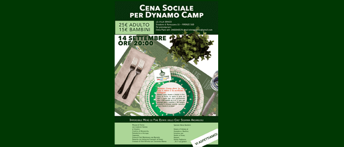14 settembre: Cena Sociale per Dynamo Camp