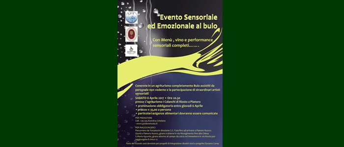 8 aprile: Evento Sensoriale ed Emozionale al buio