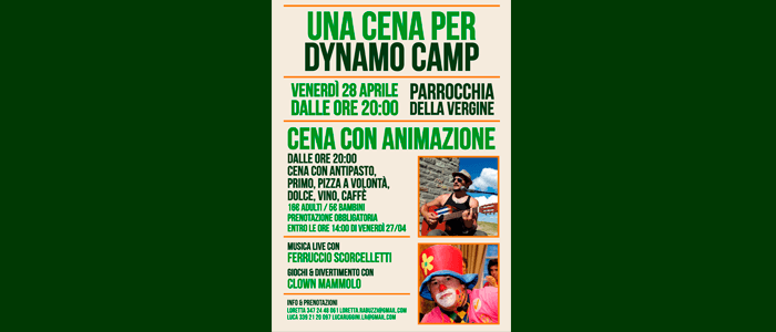 28 aprile: Una Cena per Dynamo Camp