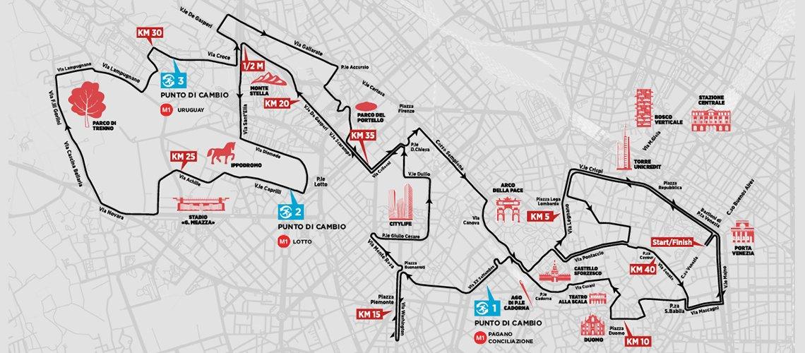 mappa percorso Milano Marathon